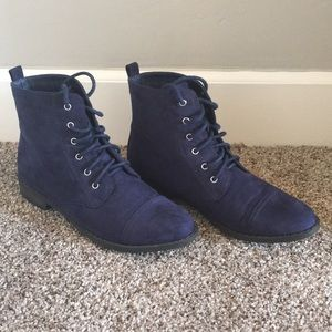 JustFab Flat Ankle Boots in Blue